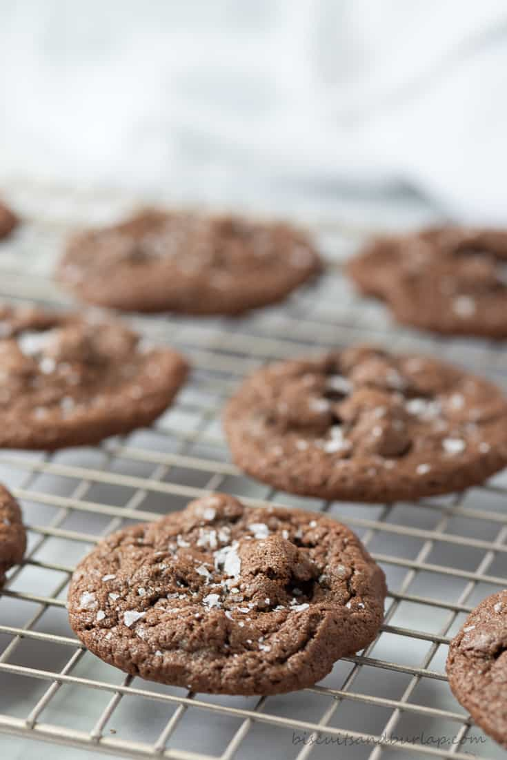 double chocolate chip cookie with Maldon Salt