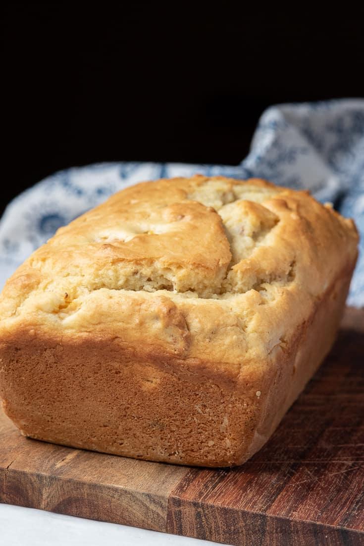 peach bread on board without glaze