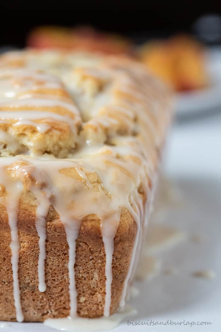 close up of glazed peach bread