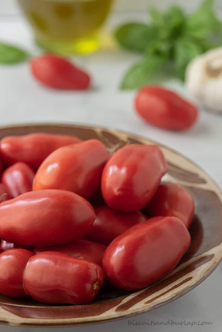 bowl of tomatoes for san marzano tomato sauce