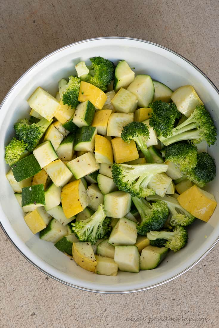 raw vegetables in bowl ready to smoke