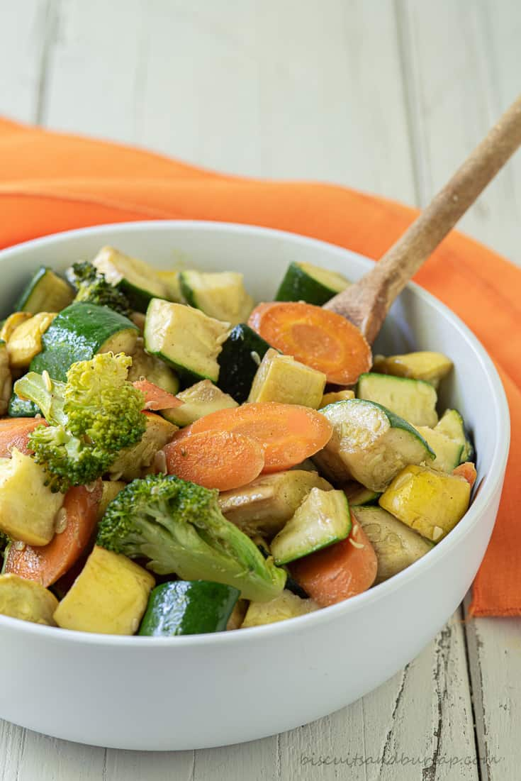 bowl of smoked vegetables