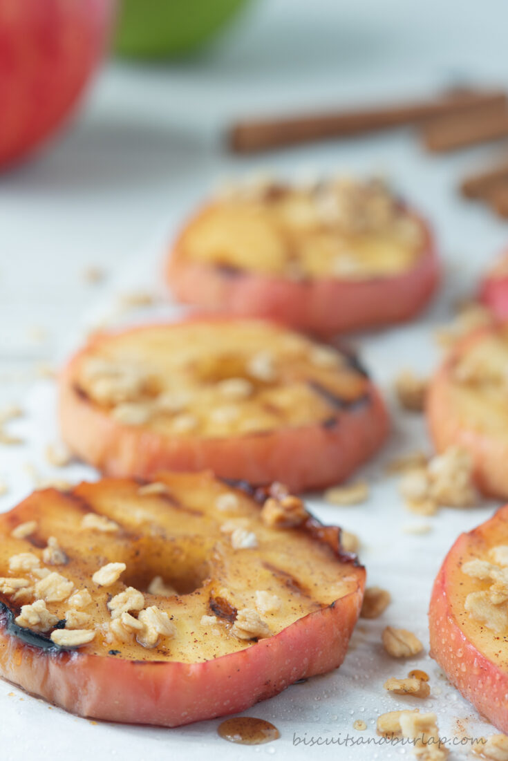 grilled apples topped with granola