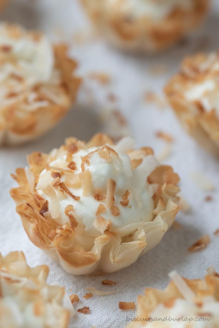 close up of coconut tart mini