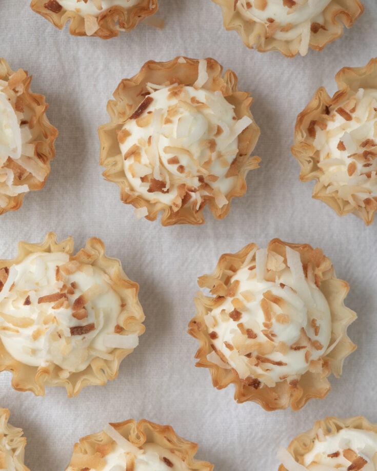 overhead of mini coconut tarts