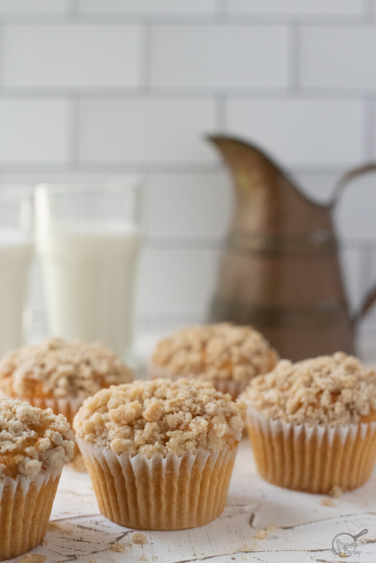 muffins with glass of milk and pitcher